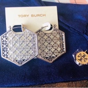 Tory Burch NWOT Perforated Silver Hoop Earrings